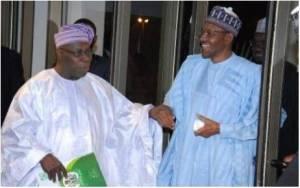 President Muhammadu Buhari (right) with Chief Olusegun Obasanjo